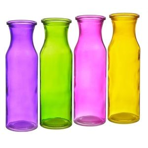 Translucent Glass Milk Bottle Vases, 7.75 in. Set